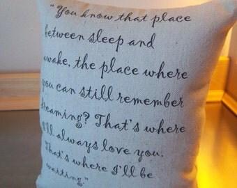 Peter Pan pillow girlfriend gift boyfriend gift best seller cotton canvas throw pillow J M Barrie quote neutral kids room decor home decor