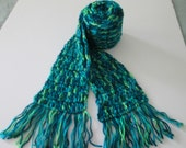 Cool colors scarf- long silky soft