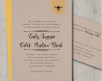 Honey Bee Wedding Invitation - Printable