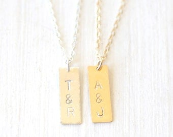 Custom Stamped Initial Long Bar Necklace // 14K Gold Filled // Sterling Silver // Simple everyday hammered initial jewelry
