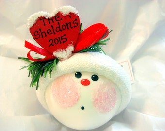 Hostess Gift Christmas Ornaments 2017 Red Heart Personalized Family Name Sample 2016 Hand Painted Handmade Themed by Townsend Custom Gifts