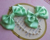 Sweet Lolita Hair clips mint bows with white pearl beads fairy kei