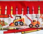 Crayon Roll Up Crayon Holder Construction Vehicle On Wjhite - Holds 8 Crayons