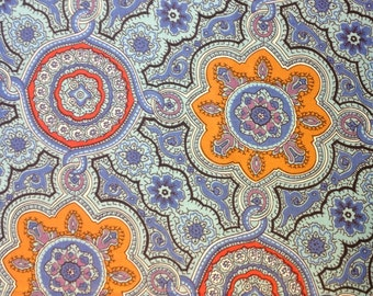 One Yard Medallion Sateen Cotton Fabric Gold and Red Medallions on Blue Background Schwartz Liebman Textile