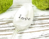 Love. Stamped Ice Cream Spoon. Long Handled Vintage Iced Tea Spoon. Great Gift for the Dessert Lover. Silverware by Dazzling Dezignz. 458SP