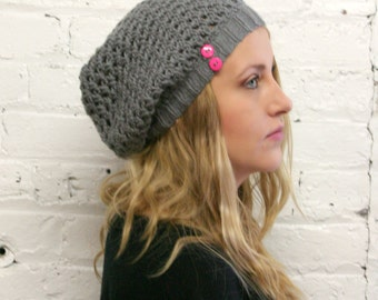 Slouch Hat - Buttoned Slouchy Beanie - Baggy Hat - French Beret