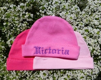 Newborn Personalized Embroidered   Hat  pink