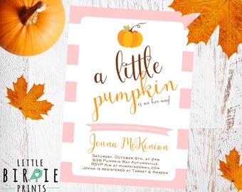 PUMPKIN BABY Shower Invitation, Girl Pumpkin Baby Shower Invitation, Fall baby shower Invitation, Little Pumpkin Baby Shower Invitation,