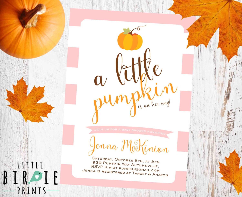 pumpkin baby shower invitation girl pumpkin by littlebirdieprints