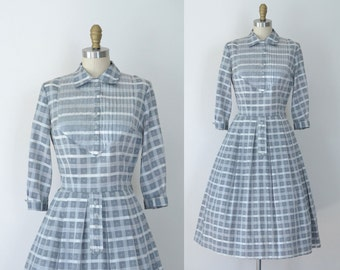 1950s Gray Checkered Dress / / 40s 50s Toni Todd Day Dress