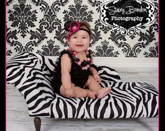 Pink and Black Silk Flower Headband
