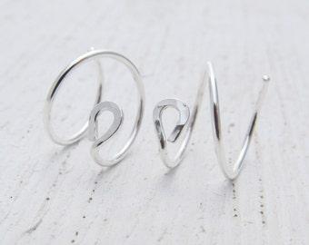 """3/8"""" Double Hoop Earrings. Argentium Sterling Silver Hoops. Earrings for 2 Piercings. Small Ear Hugging Earrings. Hammered Circle Hoops 1503"""
