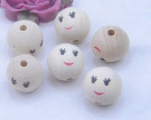 50 Natural round wood beads / smile face painted round beads / wooden beads 16mm