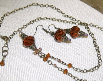 Victorian Style Brown Faceted Glass and Antique Bronze Necklace Earrings vintage style romantic boho jewelry