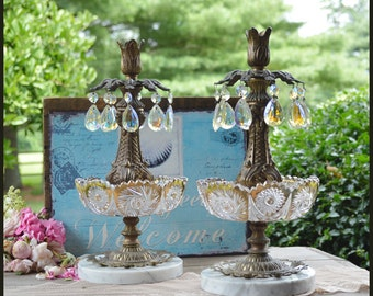 Hollywood Regency Candle Holders / Candle Holders / Crystal Prisms / Cast Iron Metal Ram Motif/ Gilded Glass Tray