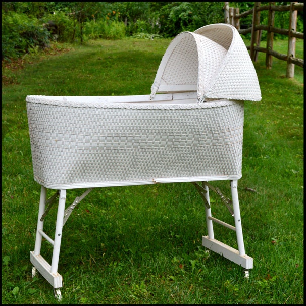 Price Reduced Vintage Wicker Baby Bassinet Wicker Baby