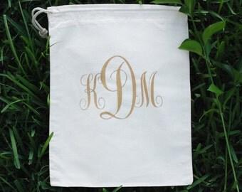 Custom Personalized Cotton Canvas Natural Drawstring Gold Monogram Lingerie Bag, Shoe Bag, Travel Bag, Wedding Bag, Bridesmaid Bag