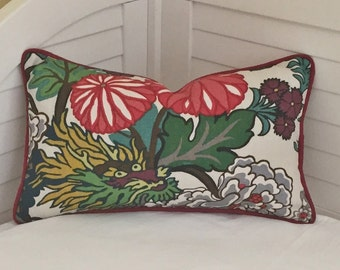 Schumacher Chiang Mai Dragon in Alabaster (fabric on both sides)  Designer Pillow Cover with Red Piping