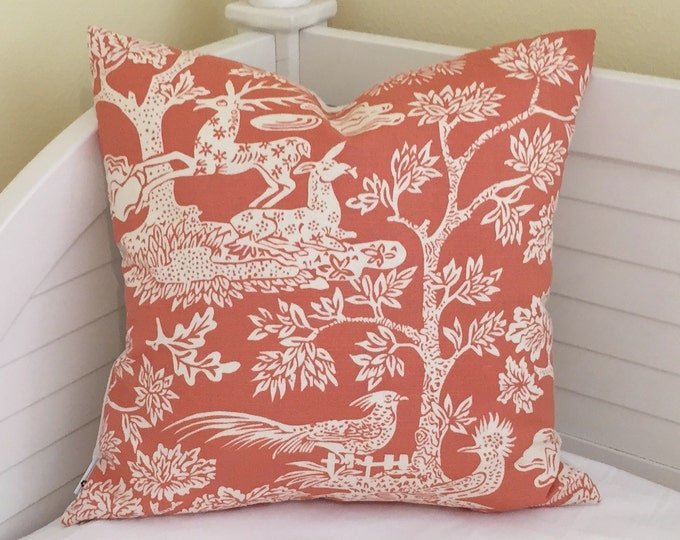 Quadrille China Seas Magic Garden in Orange on Tint Designer Pillow Cover - Square and Euro Sizes