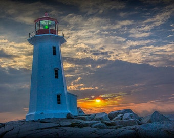 Peggy's Cove Lighthouse at Sunrise in a Fishing Village near Halifax in Nova Scotia Canada No.202 A Fine Art Seascape Lighthouse Photograph