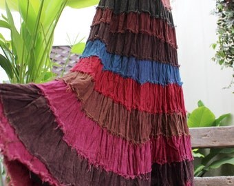 ARIEL on Earth - Boho Gypsy Long Tiered Ruffle Patchwork Cotton Skirt - BD1507-1