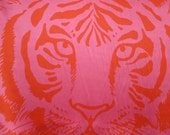 Fabulous Bright Pink and Coral Red Tiger Face Print Pure Silk Charmeuse Fabric--One Panel