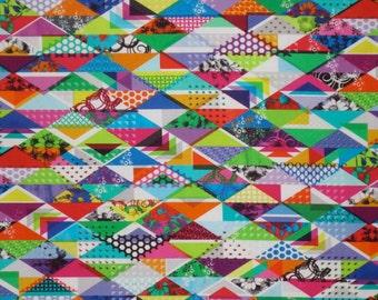 Colorful Trapezium Geometric Digital Print Pure CottonFabric--One Yard