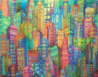 Colorful Cityscape Digital Skyline Border Print Pure Cotton Fabric--By the Yard