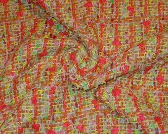 SPECIAL--Coral Pink Yellow and Green Cotton Blend Tweed Fabric from France--One Yard