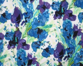 Purple Green and Blue Watercolor Floral Print Stretch cotton Sateen Fabric--One Yard