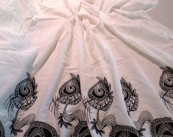 Black on Ivory Floral Double Border Applique Embroidered Pure Cotton Batiste Fabric--One Yard
