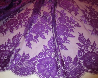 Purple Floral Design Leavers Chantilly Lace Fabric--One Yard