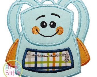 "Happy Backpack Applique Design For Machine Embroidery, Shown with our ""Adipose Unicase"" Font NOT Included, INSTANT DOWNLOAD now available"