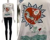 Vintage 70s Ethnic Indian Souvenir Tourist T-Shirt Sheer PAPER THIN India Tee Small Medium