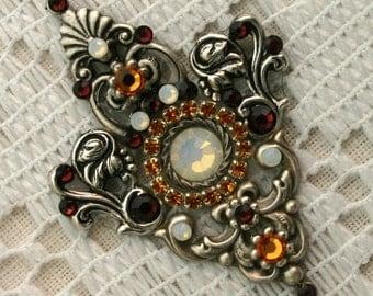 Bodacious Multi Colored Bindi with Accents in Oxidized Silver