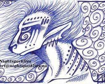 4x6 Fine Art Print The Shaman, Elf, Blue Pen, Tribal, Ethnic, Mystic, Druid, Fantasy Mystical Magical Art