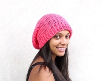 Crochet Slouchy Hat, Women, Men, Teen, Slouch Hat, Tam,  Adult, Hot Pink, Ribbed