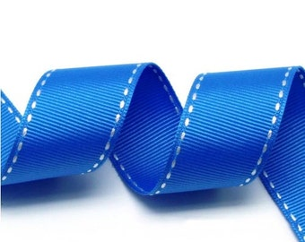 Blue/White Grosgrain Stitch Ribbon - 5mm(2/8''), 10mm(3/8''), 15mm(5/8''), and 25mm(1'')