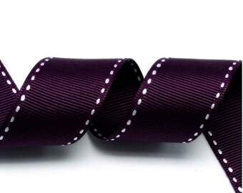 Grape/White Grosgrain Stitch Ribbon - 5mm(2/8''), 10mm(3/8''), 15mm(5/8''), and 25mm(1'')
