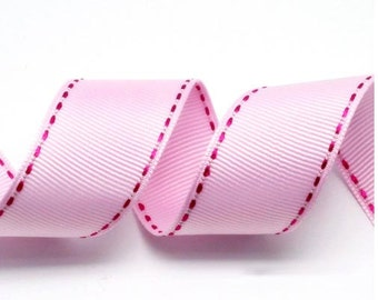 Pink/Cherry Pink Grosgrain Stitch Ribbon - 5mm(2/8''), 10mm(3/8''), 15mm(5/8''), and 25mm(1'')