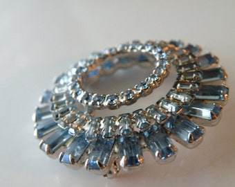 On Sale Blue round brooch pin. Austrian rhinestones, baguette chaton