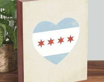 Chicago Flag Heart - Chicago Heart - Chicago Flag Art - Wood Block Art Print