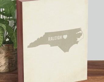 North Carolina Art - North Carolina Print - Raleigh NC - North Carolina Map
