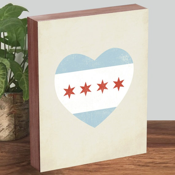 Chicago Flag Heart - Chicago Heart - Chicago Flag Art - Wood Block Art Print