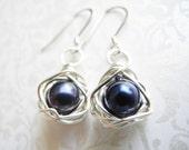 Sapphire Pearl Bird Nest Earrings, Wire Wrapped 7mm Dark Blue Cultured Freshwater Pearls, Knottin' Nest Jewelry