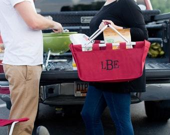 SHIPS NEXT DAY---Monogrammed Large Garnet Market Tote Basket  ---Free Monogramming---Great For Tailgating--