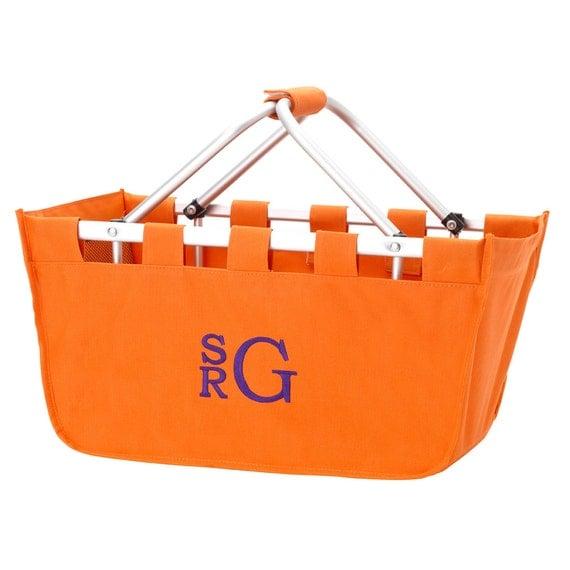 SHIPS NEXT DAY---Monogrammed Large Orange Market Tote Basket--Free Monogramming--A fantastic Tailgate Basket--
