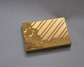 1950s 1960 Embossed Gold Tone Metal LadiesVintage Power Compact by Zell Fifth Avenue