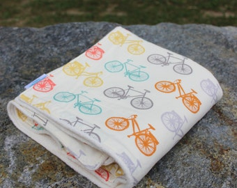 Organic Cotton Baby Blanket - Cream - Organic Blanket - Bicycles