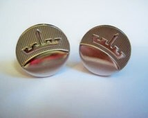 Vintage Cuff Links, 1960s Mid-Century Style, Textured with Crown, Marked 'Anson', Man's Jewelry, Made in the U.S., 18mm